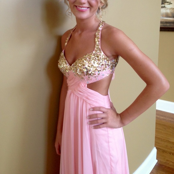Flirt Dresses | Baby Pink Prom Dress With Gold Sequins On Top | Poshmark